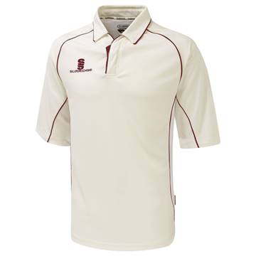 Picture of Premier Cricket Shirt - Short Sleeve - Red Trim